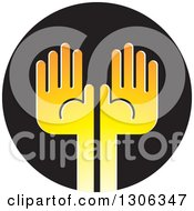 Clipart Of A Pair Of Gradient Yellow Hands On A Black Circle Royalty Free Vector Illustration