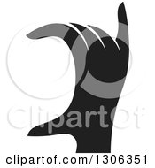 Clipart Of A Black And White Silhouetted Hand Gesturing Royalty Free Vector Illustration