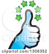 Clipart Of A Gradient Blue Hand Giving A Thumb Up Under Stars Royalty Free Vector Illustration