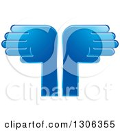 Clipart Of A Pair Of Blue Hands 2 Royalty Free Vector Illustration
