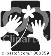 Clipart Of A Black Cross With A White Flower And Child Hands Royalty Free Vector Illustration by Lal Perera