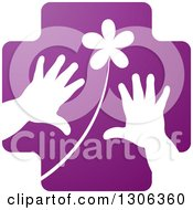 Clipart Of A Purple Cross With A White Flower And Child Hands Royalty Free Vector Illustration