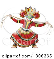 Clipart Of A Traditional Sinhala Devil Dancer In A Horned Mask Royalty Free Vector Illustration
