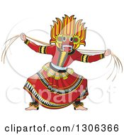 Clipart Of A Traditional Sinhala Devil Dancer In A Horned Mask 2 Royalty Free Vector Illustration