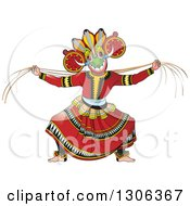Clipart Of A Traditional Sinhala Devil Dancer In A Horned Mask 3 Royalty Free Vector Illustration