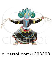 Clipart Of A Traditional Sinhala Devil Dancer In A Horned Mask 4 Royalty Free Vector Illustration