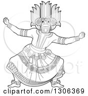 Clipart Of A Black And White Traditional Sinhala Devil Dancer In A Horned Mask Royalty Free Vector Illustration