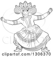 Clipart Of A Black And White Traditional Sinhala Devil Dancer In A Horned Mask 2 Royalty Free Vector Illustration