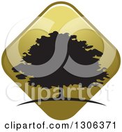 Clipart Of A Silhouetted Tree Over A Gold Diamond Royalty Free Vector Illustration