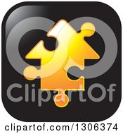 Clipart Of A Square Black Icon With An Orange House Shaped Jigsaw Puzzle Piece Royalty Free Vector Illustration by Lal Perera