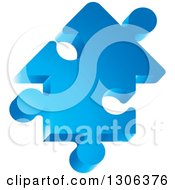 Clipart Of A 3d Blue House Shaped Jigsaw Puzzle Piece Royalty Free Vector Illustration by Lal Perera