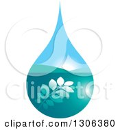 Clipart Of A Blue Leafy Branch And Valley Sunrise Water Drop Royalty Free Vector Illustration