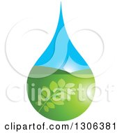 Clipart Of A Leafy Branch And Valley Sunrise Water Drop Royalty Free Vector Illustration