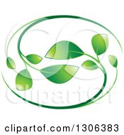Clipart Of A Graident Green Vine Oval Royalty Free Vector Illustration
