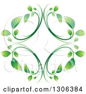 Clipart Of A Graident Green Vine Diamond Royalty Free Vector Illustration
