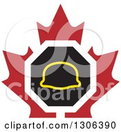 Clipart Of A Safety Hardhat Helmet Over A Maple Leaf Royalty Free Vector Illustration by Lal Perera