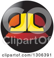 Clipart Of A Gradient Red And Yellow Hardhat Helmet In A Round Black Icon Royalty Free Vector Illustration by Lal Perera