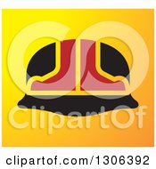Clipart Of A Red And Black Hardhat Helmet Over Gradient Yellow Royalty Free Vector Illustration by Lal Perera