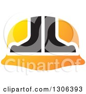 Clipart Of A Black And Gradient Orange Hardhat Helmet Royalty Free Vector Illustration by Lal Perera
