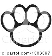 Clipart Of A Black And White Dog Paw Print Royalty Free Vector Illustration