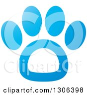 Clipart Of A Gradient Blue And White Dog Paw Print Royalty Free Vector Illustration