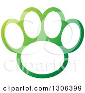 Clipart Of A Gradient Green And White Dog Paw Print Royalty Free Vector Illustration