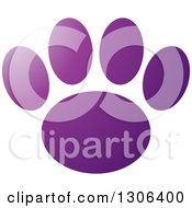 Clipart Of A Gradient Purple Dog Paw Print Royalty Free Vector Illustration