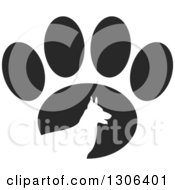 Clipart Of A White Silhouetted German Shepherd Dog In Profile Over A Black Paw Print Royalty Free Vector Illustration