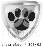 Clipart Of A Black Dog Paw Print On A Shiny Silver Shield Royalty Free Vector Illustration