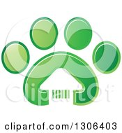 Clipart Of A White House In A Gradient Green Dog Paw Print Royalty Free Vector Illustration