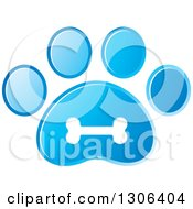 Clipart Of A White Bone On A Gradient Blue Dog Paw Print Royalty Free Vector Illustration