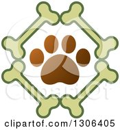 Clipart Of A Gradient Brown Dog Paw Print In A Diamond Of Bones Royalty Free Vector Illustration by Lal Perera