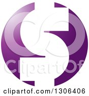 Clipart Of A White USD Dollar Currency Symbol On A Gradient Purple Circle Royalty Free Vector Illustration by Lal Perera