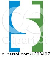 Clipart Of A White USD Dollar Currency Symbol On Blue And Green Royalty Free Vector Illustration
