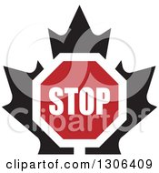Clipart Of A Stop Sign Over A Black Maple Leaf Royalty Free Vector Illustration