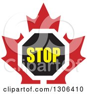 Clipart Of A Stop Sign Over A Red Maple Leaf Royalty Free Vector Illustration