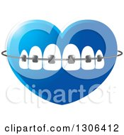 Clipart Of A Gradient Blue Heart With Teeth And Dental Braces Royalty Free Vector Illustration by Lal Perera