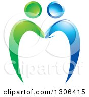 Clipart Of A Blue And Green Couple Forming A Tooth Royalty Free Vector Illustration