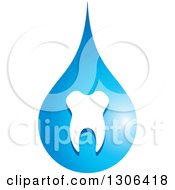 Clipart Of A Blue Tooth And Water Drop Design Royalty Free Vector Illustration