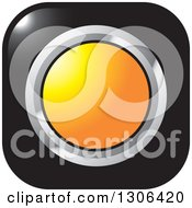 Clipart Of A Shiny Black Square Button Icon With A Chrome And Orange Circle Royalty Free Vector Illustration