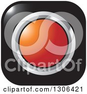 Clipart Of A Shiny Black Square Button Icon With A Chrome And Red Circle Royalty Free Vector Illustration by Lal Perera
