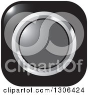 Clipart Of A Shiny Black Square Button Icon With A Chrome And Gray Circle Royalty Free Vector Illustration by Lal Perera