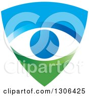 Clipart Of A Blue And Green Shield With An Eye Royalty Free Vector Illustration by Lal Perera