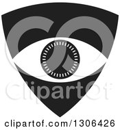 Clipart Of A Black And White Shield With An Eye Royalty Free Vector Illustration by Lal Perera