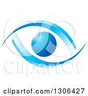 Clipart Of A Blue Abstract Eye With Ribbons Royalty Free Vector Illustration by Lal Perera