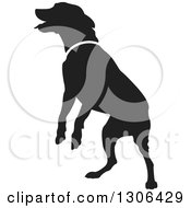 Clipart Of A Black Silhouetted Jumping Dog Royalty Free Vector Illustration by Lal Perera
