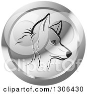 Clipart Of A Black Profiled Dog Face In A Silver Icon Circle Royalty Free Vector Illustration by Lal Perera