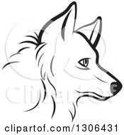 Clipart Of A Black And White Profiled Dog Face Royalty Free Vector Illustration