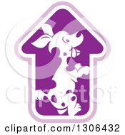 Clipart Of A Spotted Dog In A House Or Arrow Shaped Cage Royalty Free Vector Illustration by Lal Perera