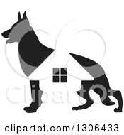 Clipart Of A Black Silhouetted German Shepherd Dog And House Royalty Free Vector Illustration by Lal Perera